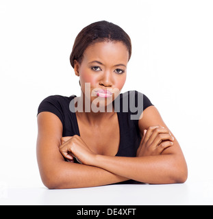 portrait of unhappy African American girl - Stock Photo