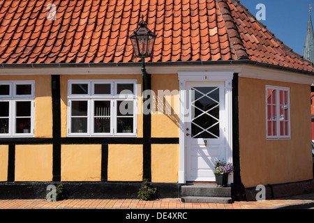 Yellow half-timbered house in Roenne on Bornholm, Denmark - Stock Photo