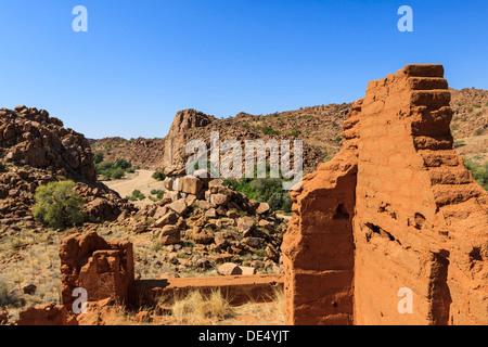 Ruins, near the Ugab Rivier, Damaraland, Namibia, Africa - Stock Photo