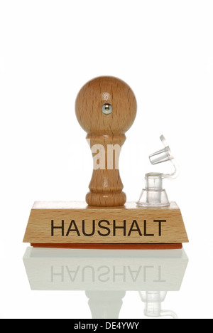 Stamp with the word 'Haushalt', budget with an open valve, symbolic image for a budget running out of air - Stock Photo