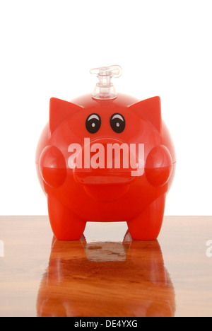 Piggybank with valve, symbolic image for inflated banks Stock Photo