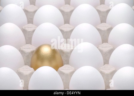 Golden egg amidst white eggs, symbolic image for being different, standing out from the crowd - Stock Photo