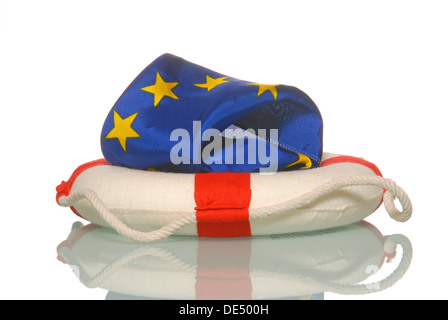 European flag in a lifesaver, symbolic image for Europe's rescue - Stock Photo