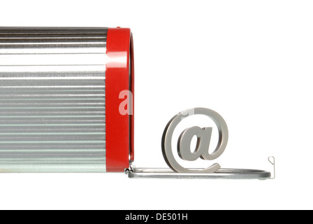 American mailbox with at-sign, symbolic image for e-mail - Stock Photo