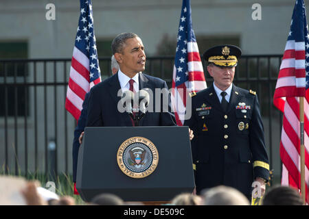 Arlington, Virginia, USA. 11th Sep, 2013. US President Barack Obama speaks during a remembrance ceremony to honor - Stock Photo