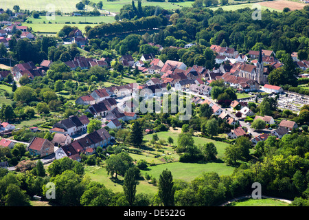 Aerial view of Voiteur, a town in the Jura region of France, taken from Château-chalon - Stock Photo