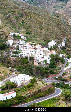 Anaga mountains with the village of Taganana at back, Azano, Taganana, Tenerife, Canary Islands, Spain - Stock Photo