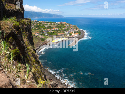 Coastal cliffs near Ponta Delgada, Vicente, Boaventura, Madeira, Portugal - Stock Photo