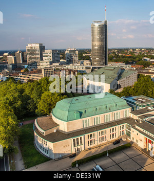 Overview of cultural quarter, Philharmonie, concert hall and Aalto building, opera house, of Esse, Germany. Skyline - Stock Photo