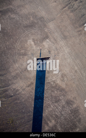 Sculpture 'Bramme' on an artificial hill, a stockpile. 20 Meters high steel slab. Essen, Germany. - Stock Photo