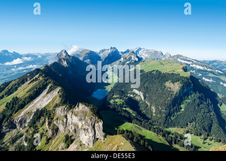 View from Hoher Kasten mountain, 1794m, in the Appenzell Alps, Lake Saemtisersee in the center, canton of Appenzell - Stock Photo