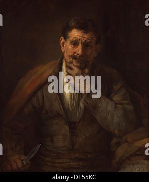 St. Bartholomew; Rembrandt Harmensz. van Rijn, Dutch, 1606 - 1669; 1661; Oil on canvas - Stock Photo