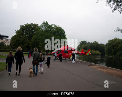 London, UK. 11th Sep, 2013. London's Air Ambulance, also known as London HEMS (Helicopter Emergency Medical Service), - Stock Photo