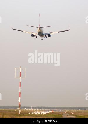 Twin engine jet plane on landing approach, Frankfurt Airport, Frankfurt am Main, Hesse