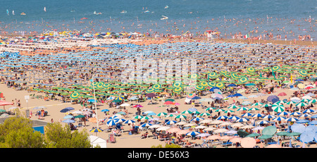 View of the beach with parasols and sun loungers, Lignano Sabbiadoro, Udine, Adriatic Coast, Italy, Europe - Stock Photo