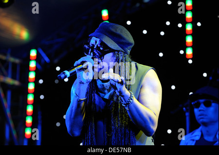 Jamaican British singer Maxi Priest on stage at the The Flyover Show, Hockley Circus, Birmingham, England, 18 August - Stock Photo