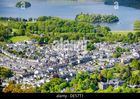 Lake District National Park, Cumbria, England. Southwest over Keswick town and north end of Derwentwater. Summer - Stock Photo