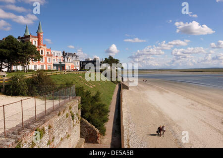 ´Les Tourelles´ hotel and restaurant, Le Crotoy, Somme Bay, Somme, Picardy, France - Stock Photo