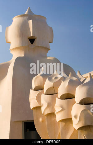 Scultures on the roof terrace. Casa Milà (La Pedrera), by Antoni Gaudí. Barcelona, Spain - Stock Photo