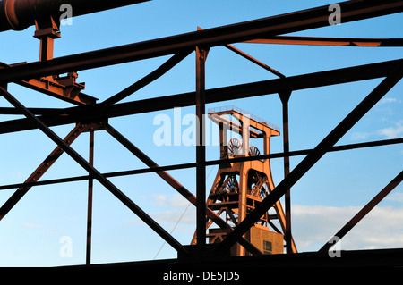 Zollverein Coal Mine Industrial Complex. Winding tower of Shaft 12. Famous symbol of Essen, and the Ruhrgebiet, - Stock Photo
