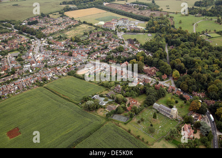 aerial view of Waddesdon village near Aylesbury, Buckinghamshire - Stock Photo