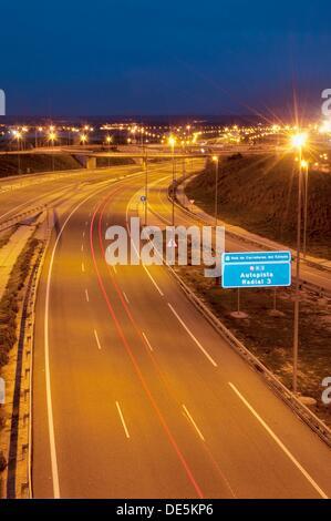R-3 toll motorway, night view. Madrid, Spain. - Stock Photo