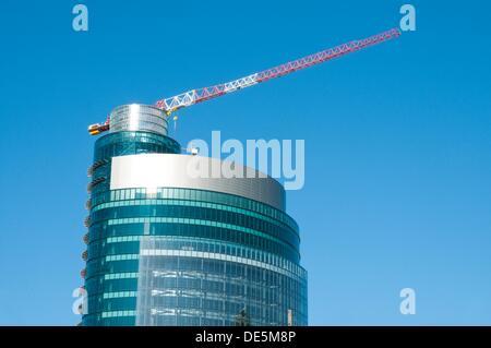 Titania Tower under construction, AZCA. Madrid, Spain. - Stock Photo