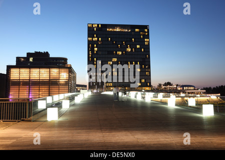 Night view of the Dusseldorf Media Harbor (Medienhafen) in Germany - Stock Photo