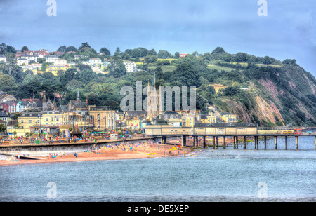 View of Teignmouth town beach and seafront Devon England, traditional English tourist town scene by the sea in HDR - Stock Photo