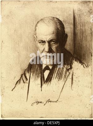 Portrait of Sigmund Freud (1856-1939), 1926. Artist: Schmutzer, Ferdinand (1870-1928) - Stock Photo
