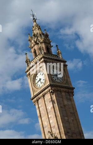 Albert Memorial Clock Tower, named for Queen Victoria's husband, Prince Albert, this tower remains one of Belfast's - Stock Photo