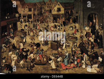 The Combat between Carnival and Lent, c. 1560. Artist: Brueghel, Pieter, the Younger (1564-1638) - Stock Photo