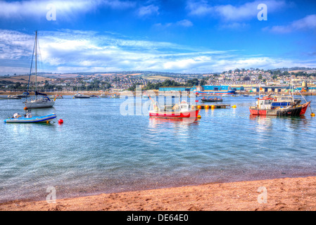 Boats on Teign river Teignmouth Devon colourful with blue sky, English coastal scene in HDR - Stock Photo