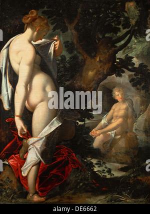 The Nymph Salmacis and Hermaphroditus, ca 1580-1582. Artist: Spranger, Bartholomeus (1546-1611) - Stock Photo