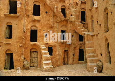 Tunisia, near Tataouine, Ksar Ouled Soltane, fortified barn - Stock Photo