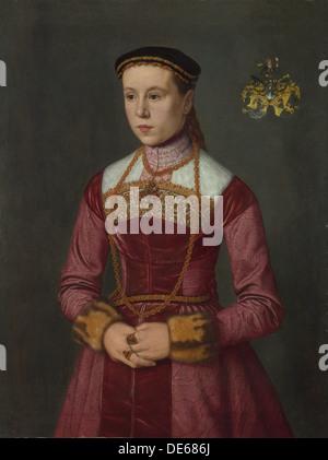 Portrait of a Young Lady, ca 1561. Artist: Neufchâtel, Nicolas (ca. 1527-ca. 1590) - Stock Photo