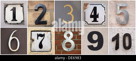 set of house numbers from 1 to 10 - Stock Photo