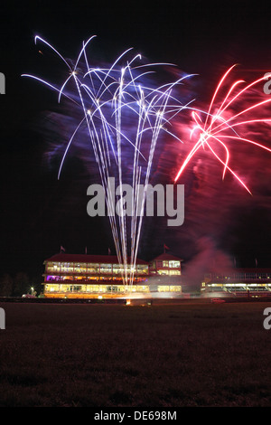 Iffezheim, Germany, fireworks before the grandstand the racecourse - Stock Photo