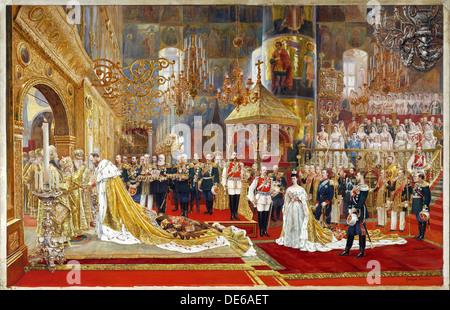 Coronation of Empreror Alexander III and Empress Maria Fyodorovna, 1883-1888. Artist: Becker, Georges (1845-1909) - Stock Photo
