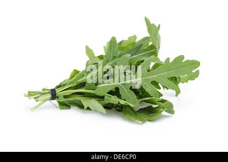 tied bunch of fresh arugula, isolated on white - Stock Photo