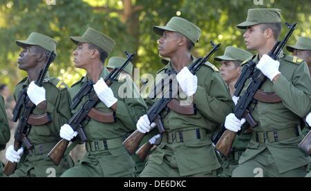 Cubans soldiers in military parade. Ceremonia de graduación de la promoción ´Aniversario 56 del asalto a los cuarteles - Stock Photo