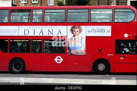 London, UK. 12th Sept 2013. Advertising for new movie 'Diana' which opens next week has started in London. This - Stock Photo
