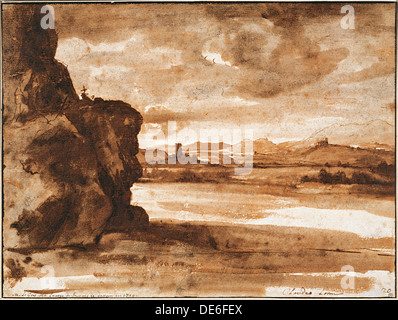 Tiber Landscape North of Rome with Dark Cloudy Sky, Between 1630 and 1640. Artist: Lorrain, Claude (1600-1682) - Stock Photo