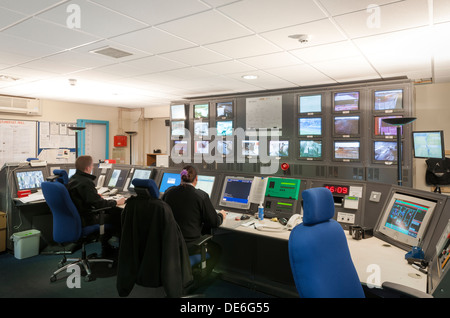 The main security CCTV monitoring room in one of Her Majesty's prisons in Lancashire in the UK. - Stock Photo