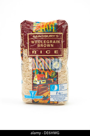 A bag of Sainsbury's wholegrain brown rice - Stock Photo