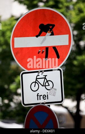 Berlin, Germany, causing MODIFIED Shield prohibition of the entrance - Clet Abraham - Stock Photo