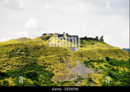 Castell Dinas Bran, Llangollen, Denbighshire, Wales. On an Iron Age site, the stone castle dates from 13 C - Stock Photo