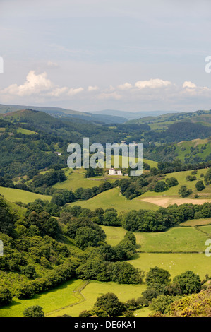 West from Trevor Rocks, Llangollen, over the Dee valley to Dinbren Hall. Denbighshire, Wales, UK. Summer morning - Stock Photo