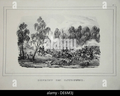Battle between Russian troops and French cavalry near Ostrovno 25-26 July 1812. Artist: Anonymous - Stock Photo