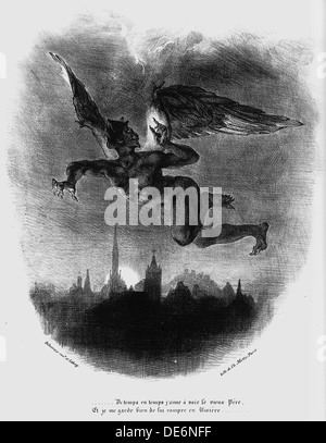 Mephistopheles Prologue in The Sky. Illustration to Goethe's Faust, 1828. Artist: Delacroix, Eugène (1798-1863) - Stock Photo